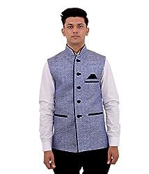 Veera Paridhaan Mens Jute Cotton Nehru Jacket (VP0070442_Grey Blue_42)