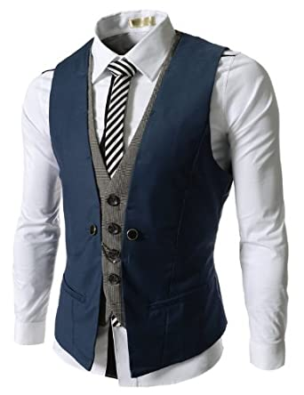 (VE34) TheLees Mens premium Business Casual Layered style Slim wedding Vest BLUE Large(US Medium)