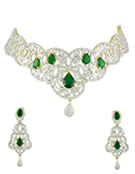 Golden Silver Necklace Set In CZ Diamonds With Green Stones