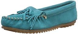 Minnetonka Women\'s Turquoise Suede Kilty Suede Moc 6 B(M) US
