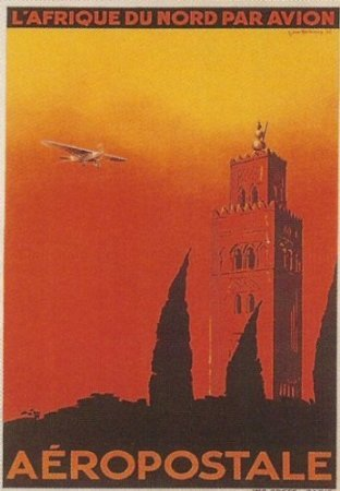 affiche-50x70cm-afique-du-nord-par-avion-aeropostale