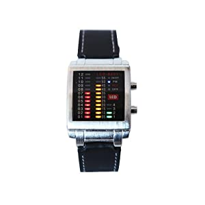 HDE® Crimson Gold and Green Design Equalizer LED Techno Rave Party Leather Watch