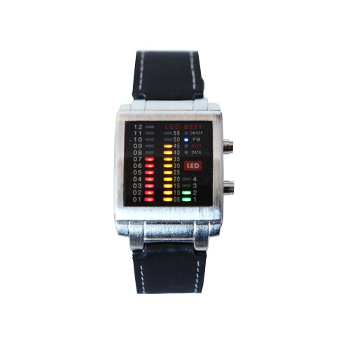 HDE ® Crimson Gold and Green Design Equalizer LED Techno Rave Party Leather Watch