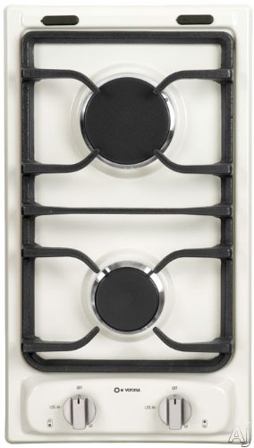 Verona VEGCT212FB 12&#8243; Gas Cooktop with 2 Sealed Burners, Electronic Ignition, Continuous Cast Iron Grates, Flame Failure Safety Device and LP Conversion Kit Included: Bisque