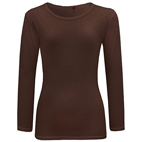 new-girls-plain-full-long-sleeve-top-shirt-size-age-7-13-years-9-10-brown
