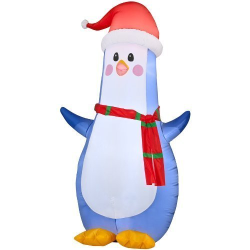 Gemmy Inflatable Airblown Penguin Outdoor Christmas Decoration with LED White Lights