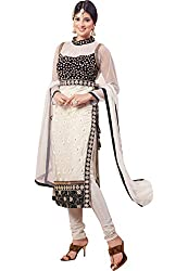 Fstore White Embroidered Georgette Semistitched Salwar suit
