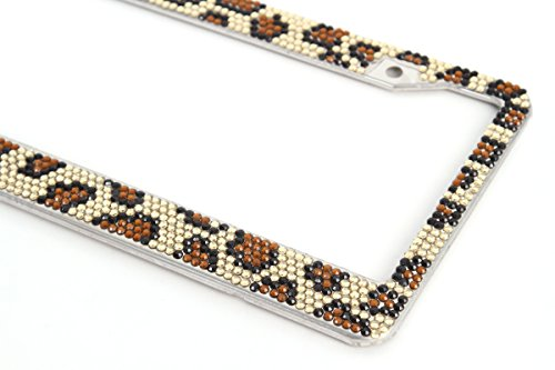Cheetah Animal License Plate Frame Bling Glitter Jewel Rhinestone Car Auto Truck (License Plate Frame Studded compare prices)