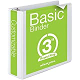 Wilson Jones Round Ring View Binder, 3 Inch, Basic, 362 Series, Customizable, White (W362-49W)