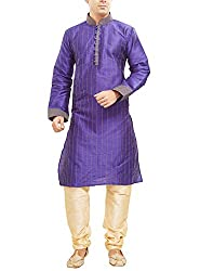 Shahana Men's Silk Blend Kurta Pyjama (darkblueman40_Orange_40)
