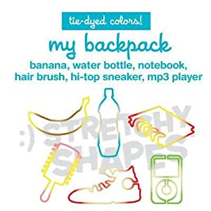- Pack of 24 My Backpack Stretchy Shapes: Tie-dye Colored Rubber Bands
