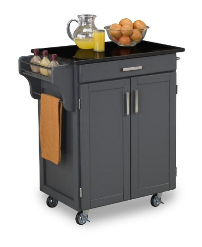 Cheap Kitchen Cart with Black Granite Top in Gray Finish (VF_HY-9001-0084)