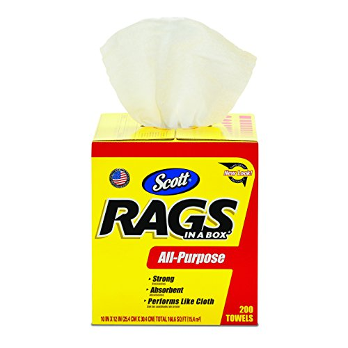 Kimberly-Clark Scott 75260 Rags In A Box, White (200 Towels) front-15779