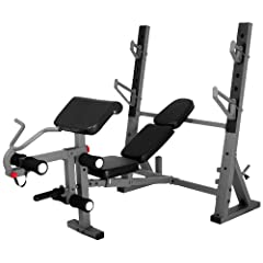 XMark International Olympic Weight Bench with Leg and Preacher Curl Attachment... by XMark Fitness