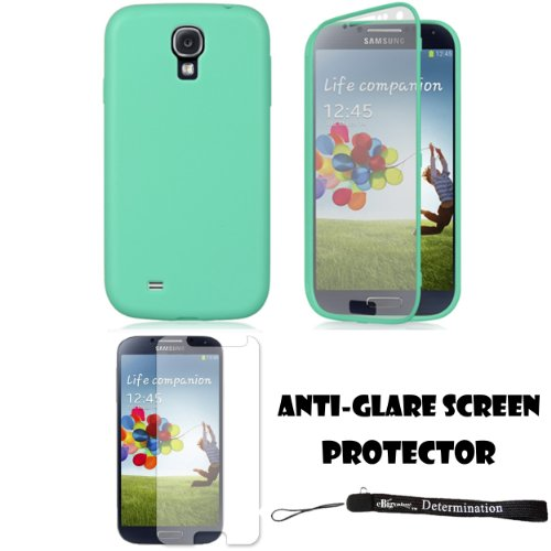 Teal Tpu Skin Cover Case With Built In Screen Protector For Samsung Galaxy S4 Android Smartphone 4G Lte (Jelly Bean)