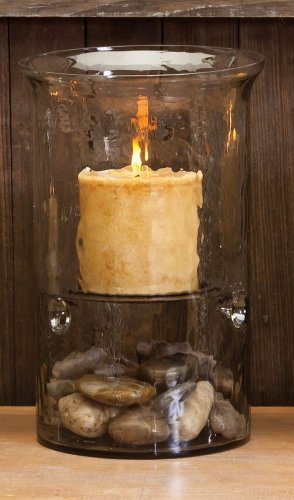 12 Glass Cyclinder Candle Holder With Antique Brown Plate