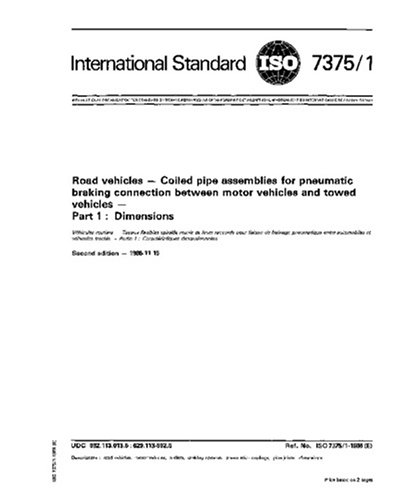ISO 7375-1:1986, Road vehicles - Coiled pipe assemblies for pneumatic braking connection between motor vehicles and towed vehicles - Part 1 : Dimensions