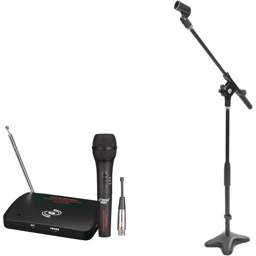 Pyle Mic And Stand Package - Pdwm100 Dual Function Wireless/Wired Microphone System - Pmks7 Compact Base Microphone Stand
