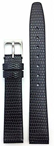 14Mm Black Round Lizard Grain Leather, Flat, Watch Band