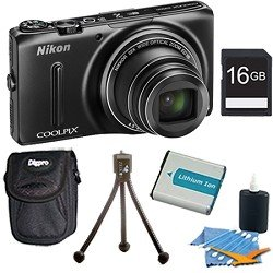 Nikon COOLPIX S9500 18.1 MP Digital Camera with 22x Zoom and Built-In Wi-Fi (Black) Super Bundle Includes 16GB Memory Card, Lithium Replacement Battery, Mini Table-top Tripod, Deluxe Carrying Case , and 3pc. Lens Cleaning Kit.