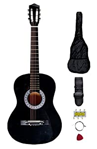 "New Black 38"" Beginners Acoustic Guitar With Guitar Case, Strap, Tuner and Pick S8 from FDW"