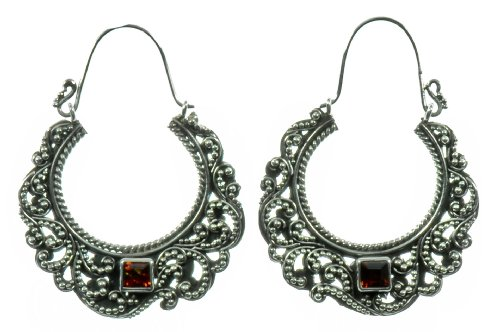 Silver Red Stone Half Moon Earring Jewelry of Bali