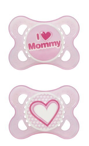 "Mam Love & Affection Pacifier, Silicone 2+ Months, ""I Love Mommy"" and Heart Girl / Pink - 1"