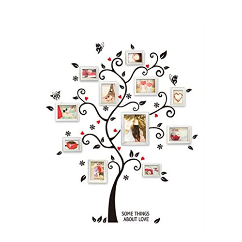 Soledi Wall Art Sticker Black Family Photo Frame Tree Flower Wall Decal for Living Room Bedroom Kitchen