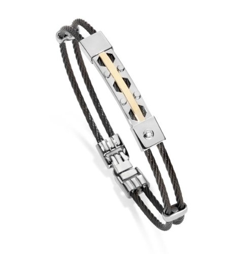B-JOY - bracelet men with 18ct Yellow Gold (18cts) with Diamond cts 0.005 H/SI , Surgical steel 316L , 20cm - BR-BJ-6708
