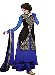 Regalia Ethnic New Collection Blue And Black Net And Velvet Embroidered Semistitched Dress Material With Matching Dupatta