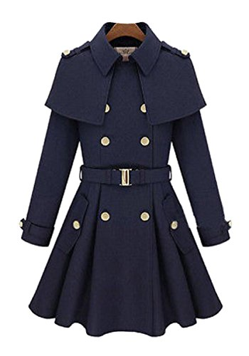 Women's Vintage Wool Winter Warm Long Jacket Coat Trench Dress Outwear