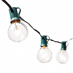 String Lights with 25 G40 Clear Globe Bulbs by Deneve® - UL Listed Indoor & Outdoor Lights Perfect for Backyards, Gazebos, Patios, Gardens, Pergolas, Decks, City Rooftops, Weddings, Bbq, Dinner Parties, Holidays - Commercial Quality String Light Fixture for Indoor / Outdoor Use - Updated Incandescent Energy-efficient Bulbs for Warm Nostalgic Glow - Natural Warmer Hue Than Led Which Casts Cold Sterile Light - LIFETIME 100% Satisfaction Guarantee on Light String!