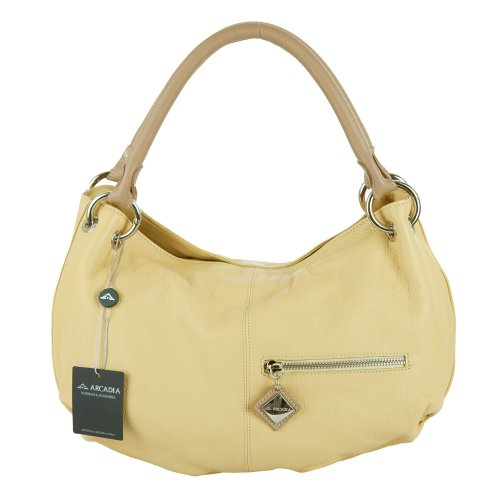 3019ce8806 The Features ARCADIA Italian Made Pale Yellow Leather Designer Hobo Bag -