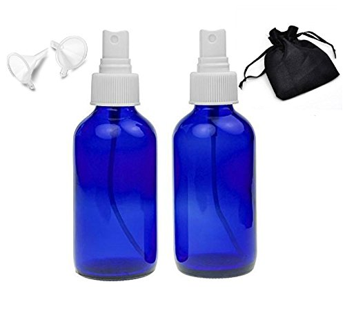 Colbalt Blue Glass Bottles Two 4 oz bottles Spray Mister Essential Oils ,Organic Oil Cosmetic's, Aromatherapy, Bundle includes 2 Handy Funnels Black Plush Satin Travel Bag (Small Spray Bottle Glass Funnel compare prices)