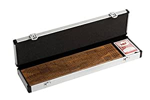 CHH 3 Track Walnut Cribbage Set in Aluminum Case