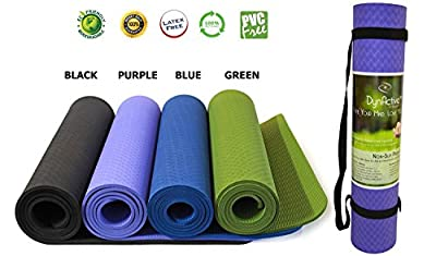 "Yoga Mat by DynActive- 1/4"" (7mm) Thick Non Slip Eco-Friendly, Velcro Carry Strap- 100% TPE Material The Latest Technology- High Density Lightweight Durable Memory Foam- Non Toxic, Latex and PVC"