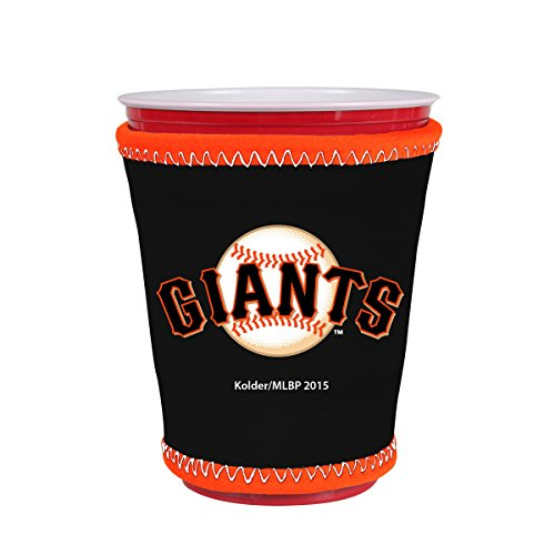 MLB Team Logo Coolie Cup Holder Sleeve Fitting Plastic Cups, Pint Glasses, Coffee Cups, Ice Cream, Etc. - Neoprene and Bottomless (San Francisco Giants)