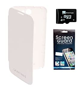 KolorEdge Flip Cover + Screen Protector + Micro 4GB Memory Card For Samsung Galaxy Note 2 - White