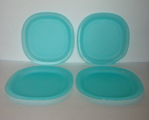 Tupperware Microwave Luncheon Plates Set In Tropical Water/Light Blue