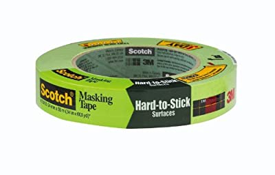 3M Scotch Masking Tape for Hard-to-Stick Surfaces, 2060-24A, 1-Inch by 60-Yards, 1 Roll - 2060-1A, Green