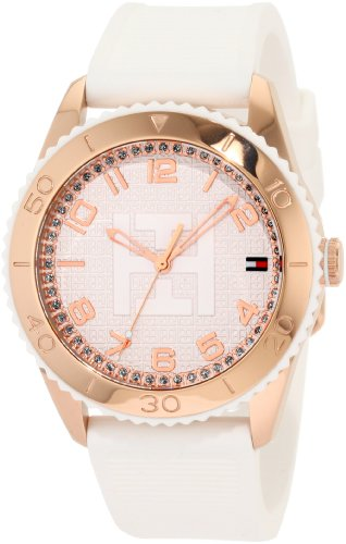 Tommy Hilfiger Women&#8217;s 1781121 Sport Rose Gold Toned White Silicon Watch