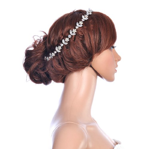 Remedios Wedding Bride Silver Plated Rhinestone Hair Hoop Clip Headband