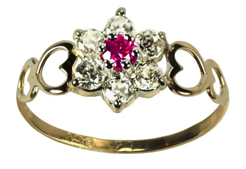 9ct Yellow Gold Created Ruby & Cz July Birthstone Ring