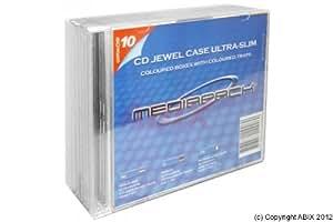 Dexlan Pack de 10 Boitier CD slim Transparent