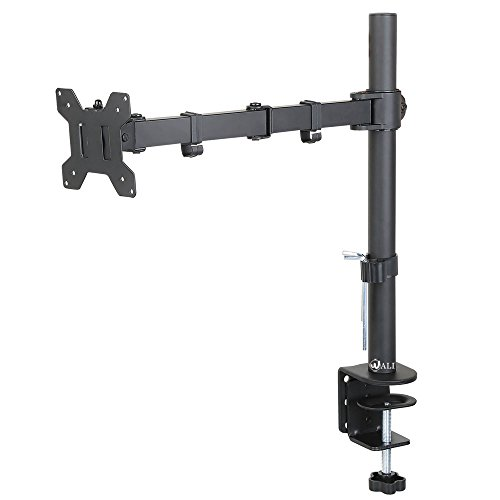 WALI-Single-LCD-Monitor-Desk-Mount-Stand-Fully-Adjustable-Fits-One-Screen-up-to-27-Full-Motion-Tilt-Swivel-Rotate-22-lbs-Capacity-C-Clamp-Base-and-Optional-Grommet-Base-WL-M001