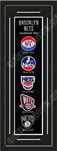 Heritage Banner Of Brooklyn Nets With Team Color Double Matting-Framed Awesome &... by Art and More, Davenport, IA