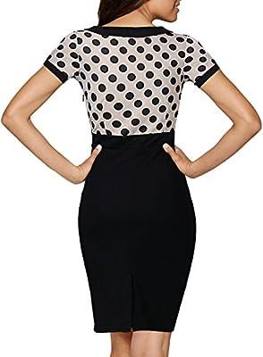 Miusol® Women's V-Neck Vintage Polka Dot Cap Sleeve Contrast Casual Pencil Dress