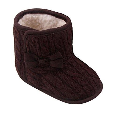 Kingko® Scarpe neonato bambino di Bowknot morbida suola di scarpa invernale mantengono i pattini caldi stivali (9-12 mesi, Caffè)