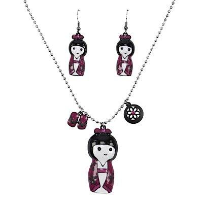 Eardrops & Necklace -Set JAPANESE DOLL GIRL crimson