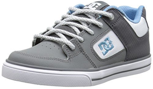DC Pure SE Skate Shoe (Little Kid/Big Kid),Grey/White/Blue,11.5 M US Little Kid